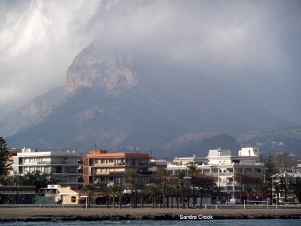 Storm rolling in over Montgo, Javea in Spain
